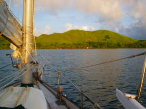 Willow anchored off a typically Fijian verdant green island