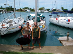 Bonnie and Greg right after launching Willow at Vuda Point Fiji
