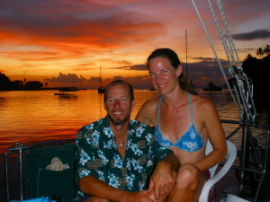 Greg, Bonnie and a stunning sunset in Savusavu