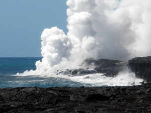 Lava hitting the sea