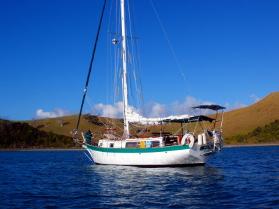 Bodhran anchored in Mimiwhangata