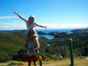 Johnny and Marisa hiking around Urupukapuka Island
