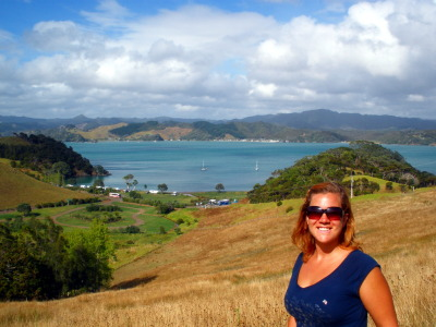 Hiking through the pasture above Puriri Bay