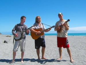 Pickin on the beach with Alex and Johnny
