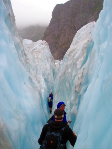 Hiking through a crevasse