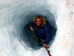 Me about ready to climb out of an ice cave