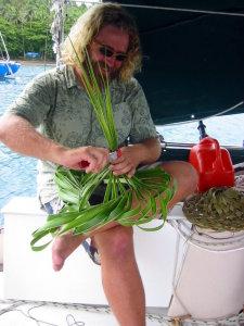 Weaving my hat in Fiji