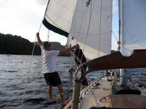 Here's Craig off Little Wing and Ben off Veleda acting as human whisker poles on a downwind leg