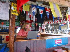 Updating my blog at the Vava'u yacht club