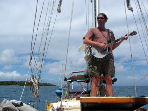 Tate pickin on the foredeck