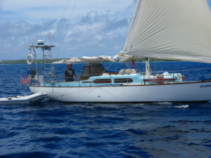Ben sailing Veleda in close quarters with us in the Ha'apai