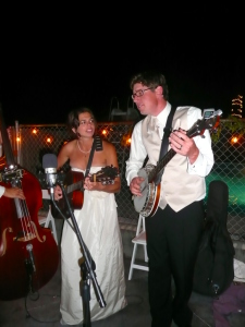 Tate and Betsy taking over from the band at the reception