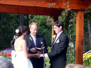 Tate and Betsy making their vows