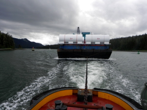 Pulling a barge through Wrangle Narrows just South of Petersburg