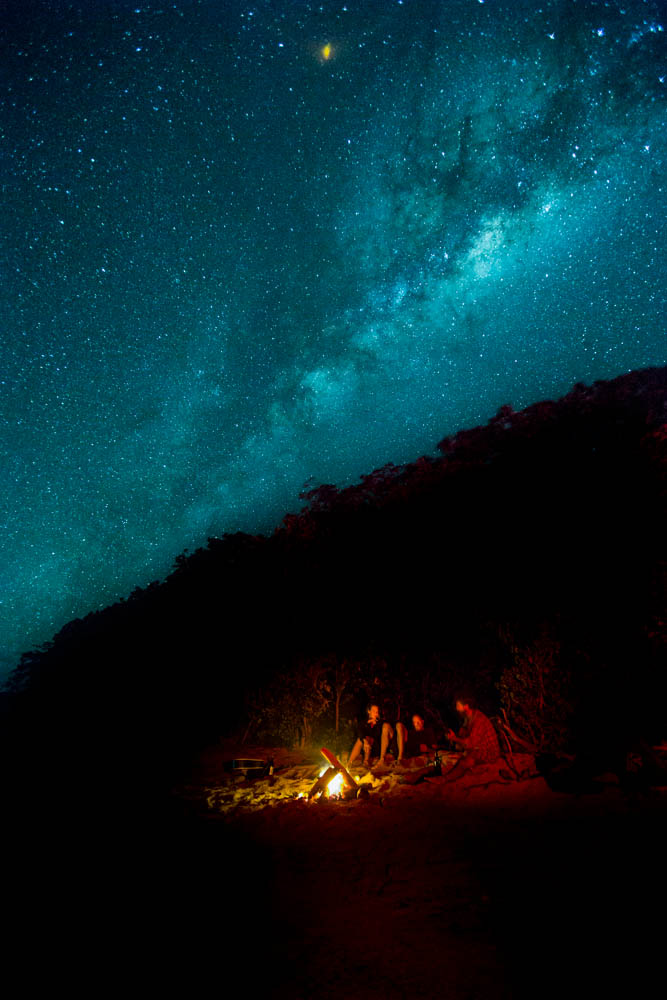 Campfire under the milky way